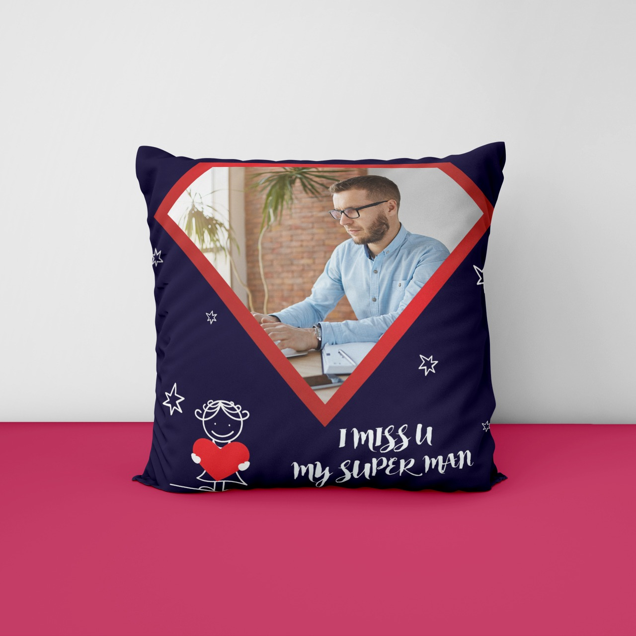 My super Man Miss You Personalized Cushion