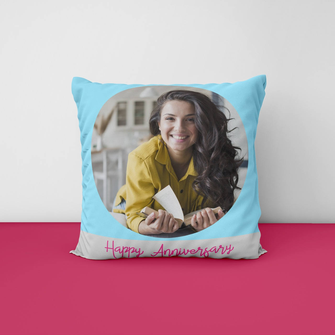Happy Anniversary Personalized Photo Cushion
