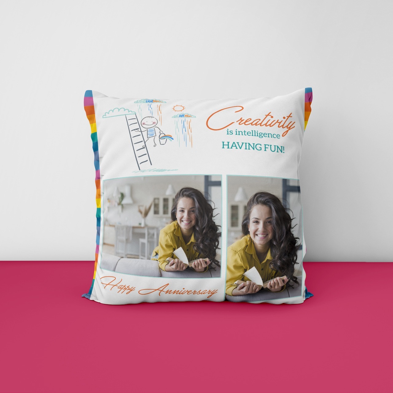 Happy Anniversary Photo Cushion