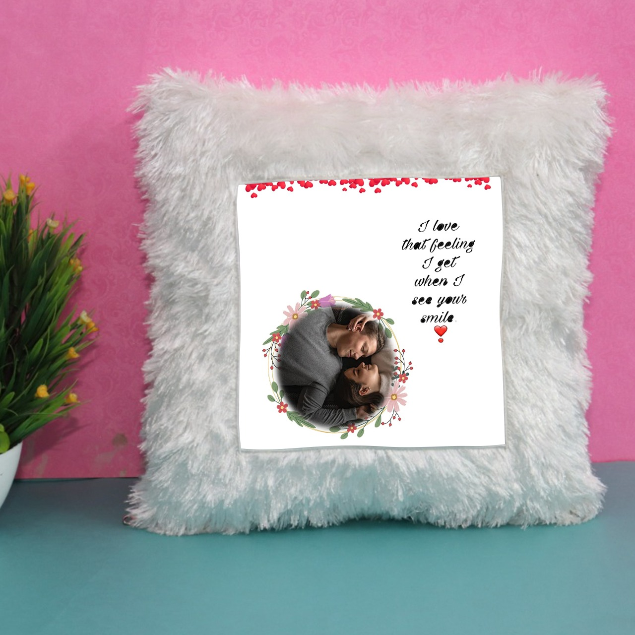 I Love That Feeling Personalized Fur Cushion