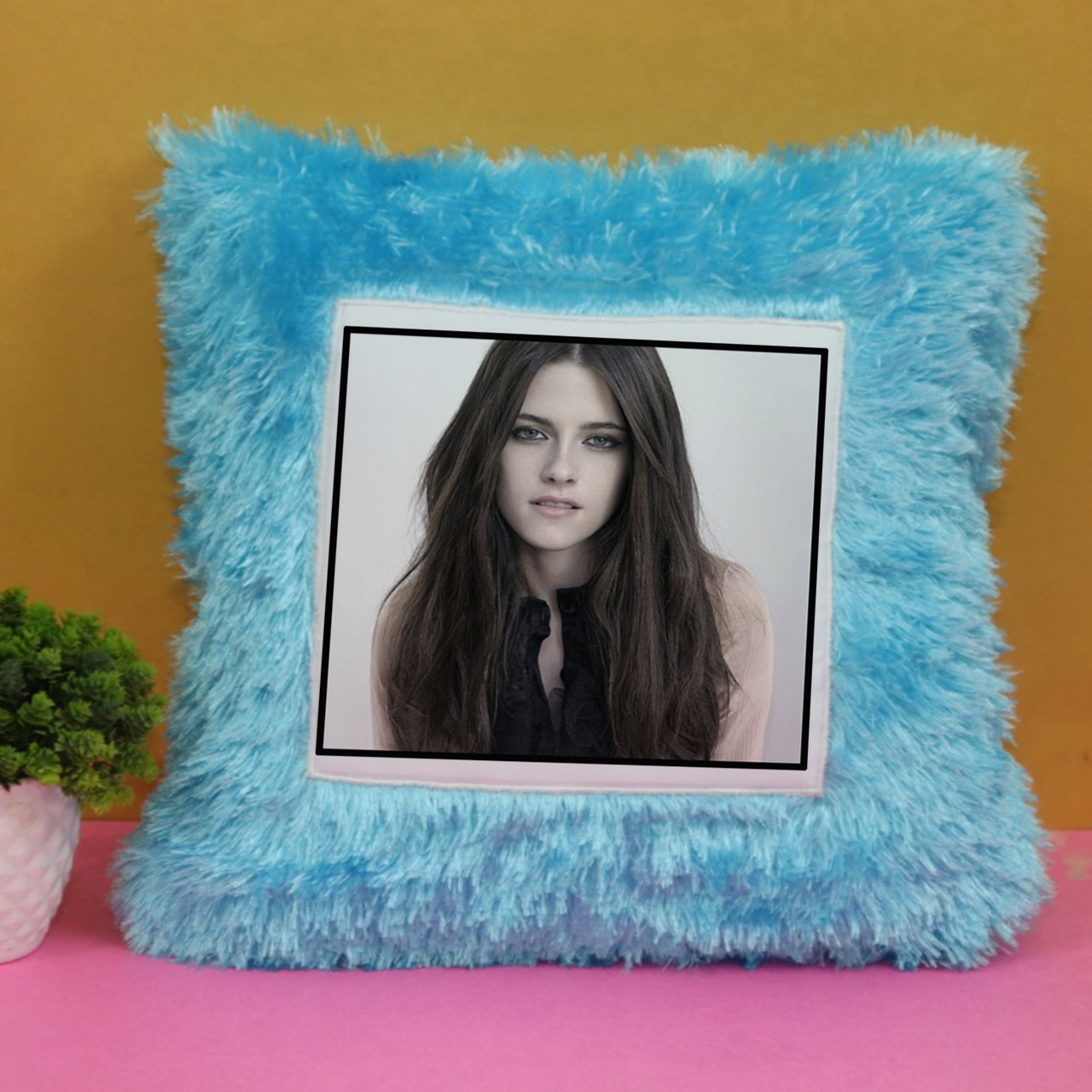 Personalizd Blue Fur Cushion
