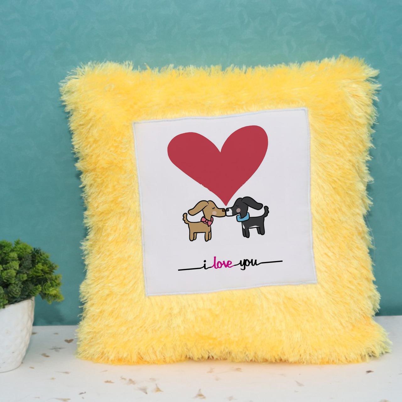 I love you Yellow Fur Cushion