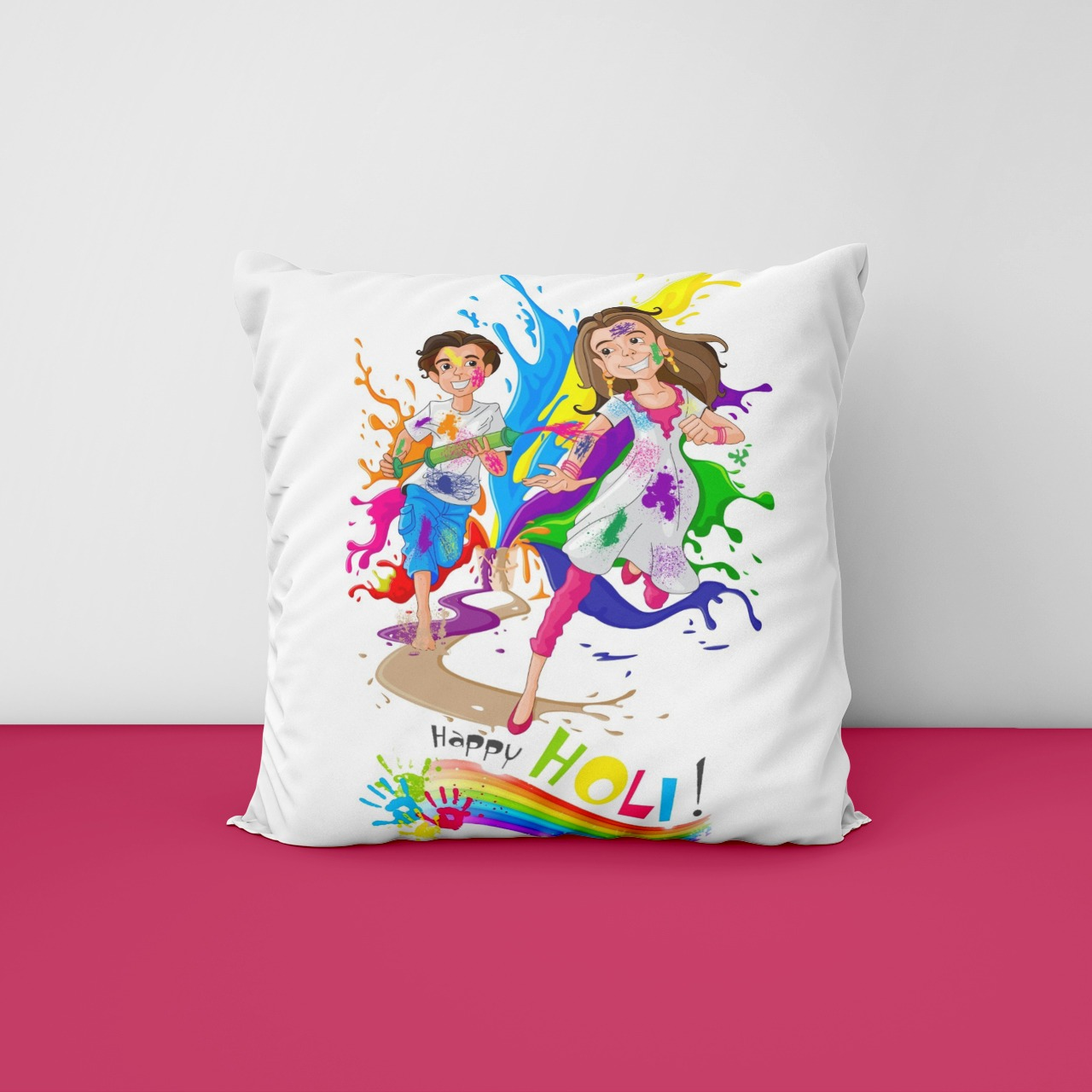 Holi Customized Satin Cushion