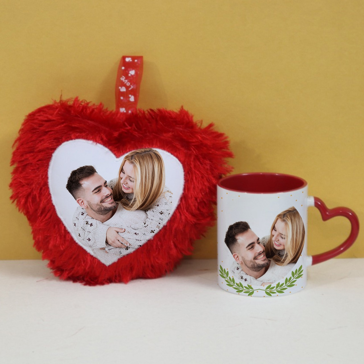 Personalized Red Heart Cushion with Mug