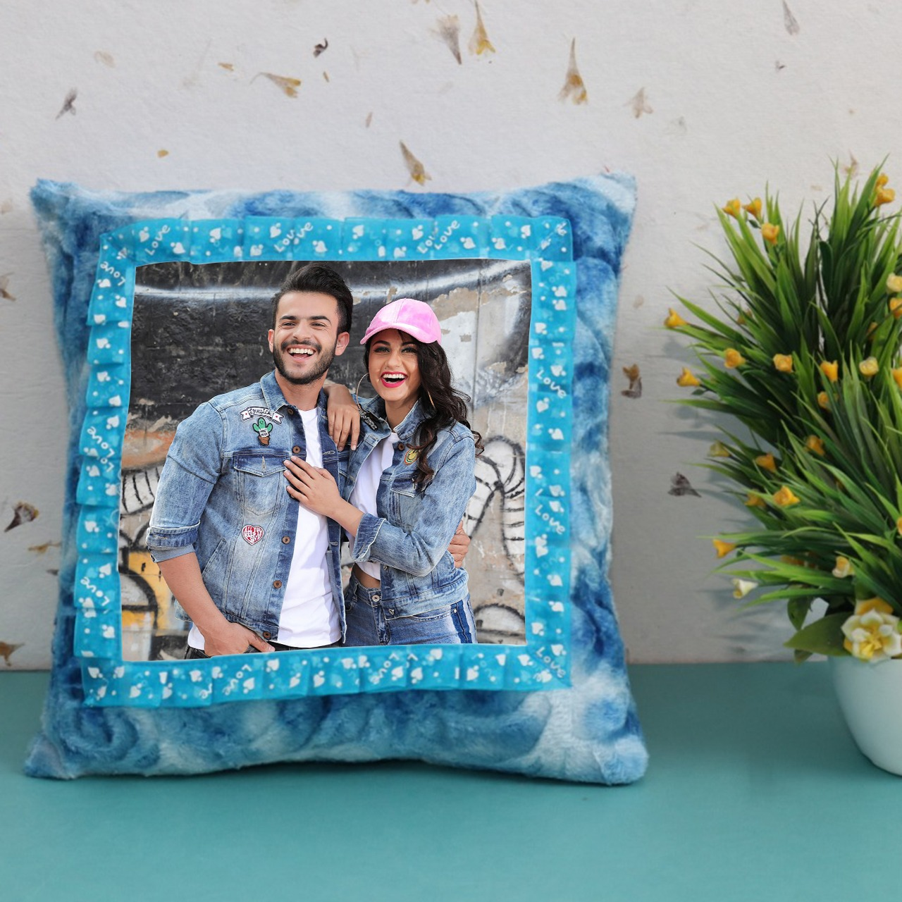 Personalized Sky Blue Square Cushion