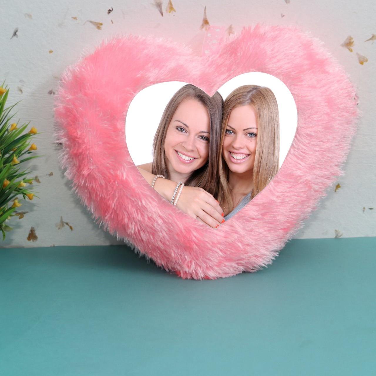 Personalized Heart Shaped Pink Cushion
