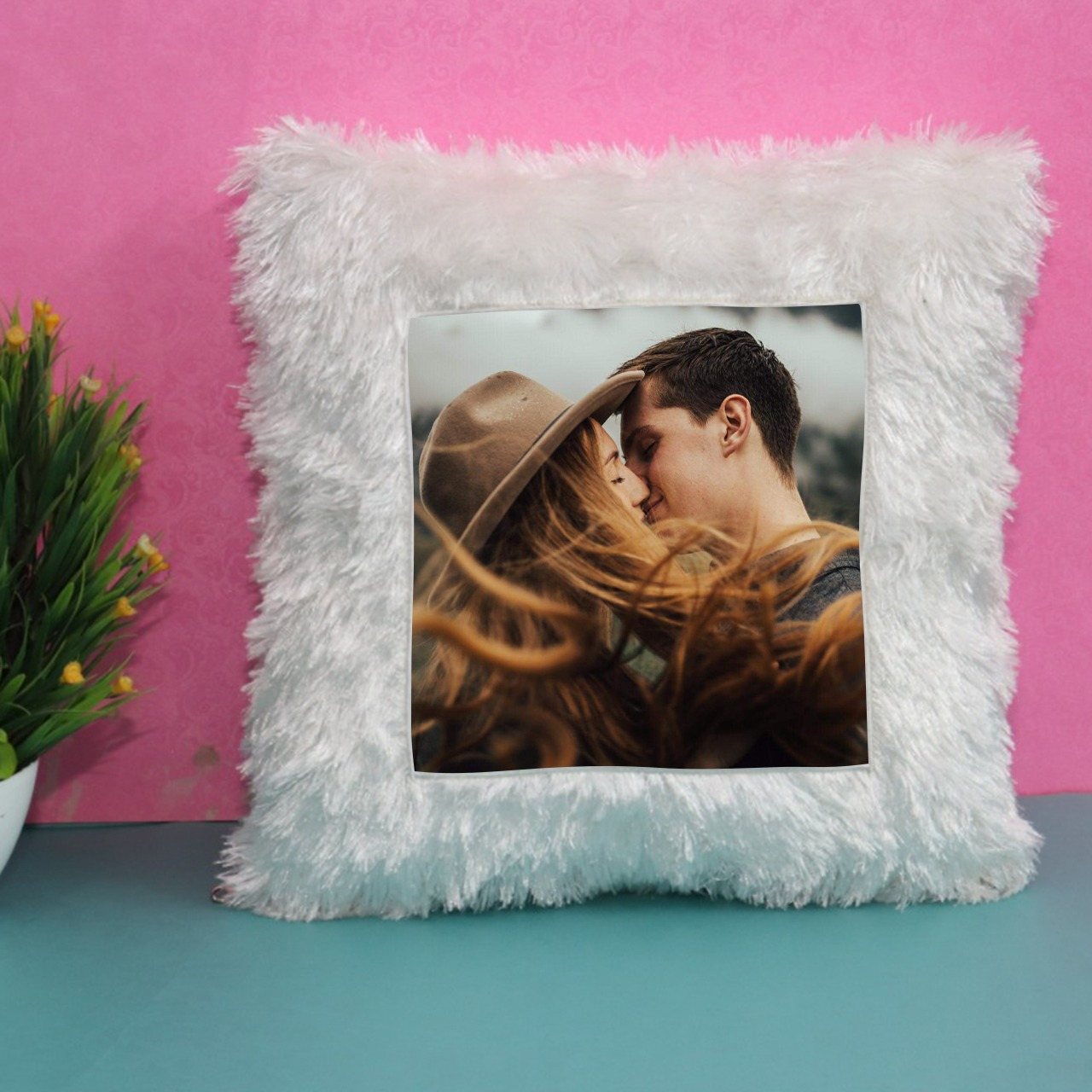 Personalized Whitte Square Cushion