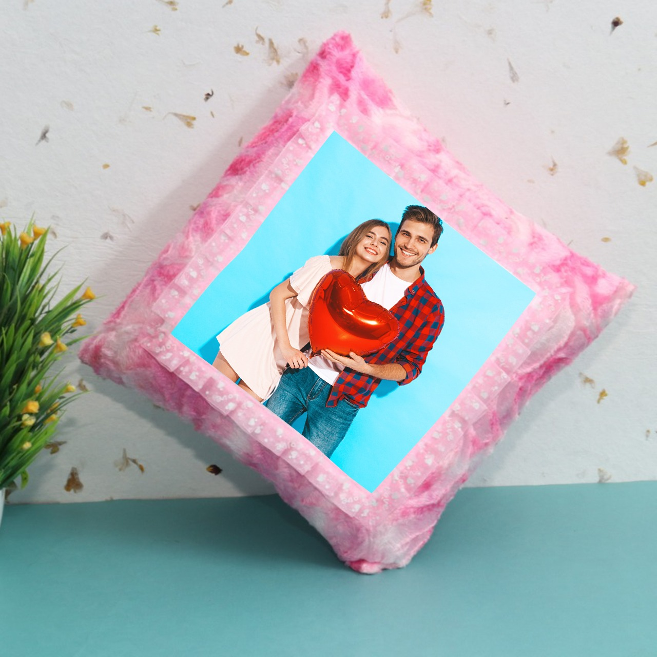 Personalized Pink Square Cushion
