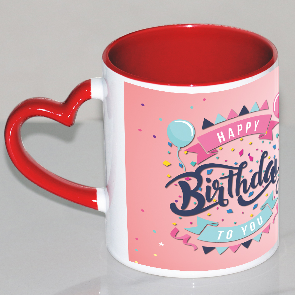 Happy Birthday Red Heart Handle Mug