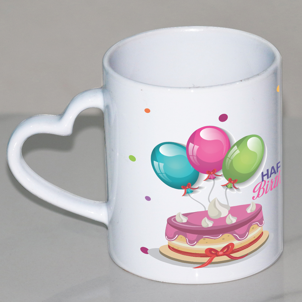 Happy Birthday Heart Handle Mug