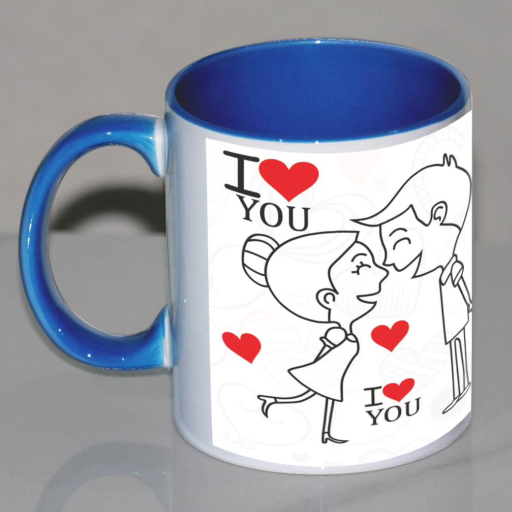 Cute Couple Personalized Blue Mug