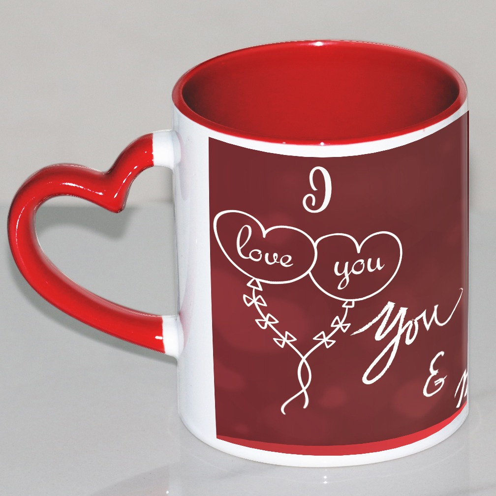 I love You  Personalized Red Heart Handle Mug