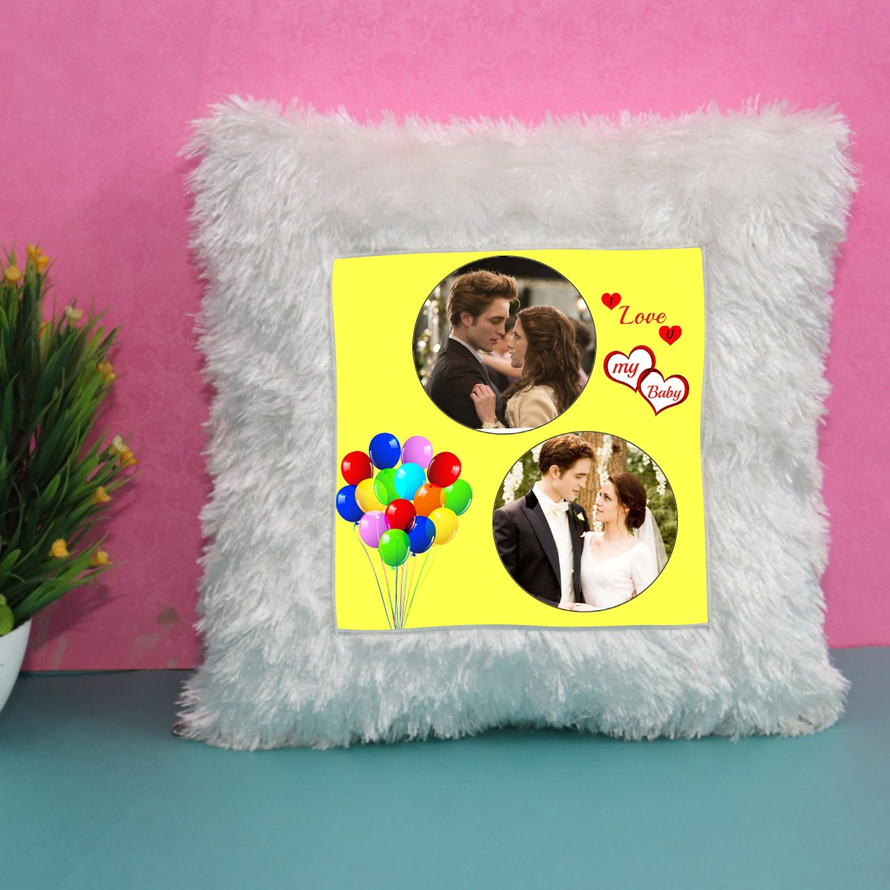 Birthday Whitte Fur Square Cushion