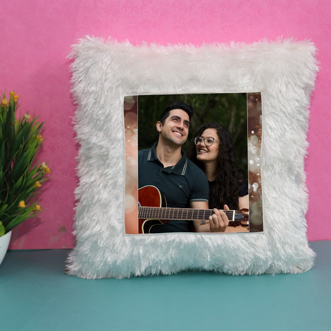 Personalized  Square Fur Cushion