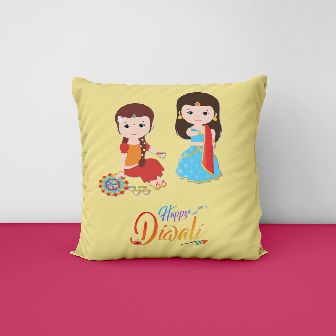 Diwali Theme Printed Satin Cushion