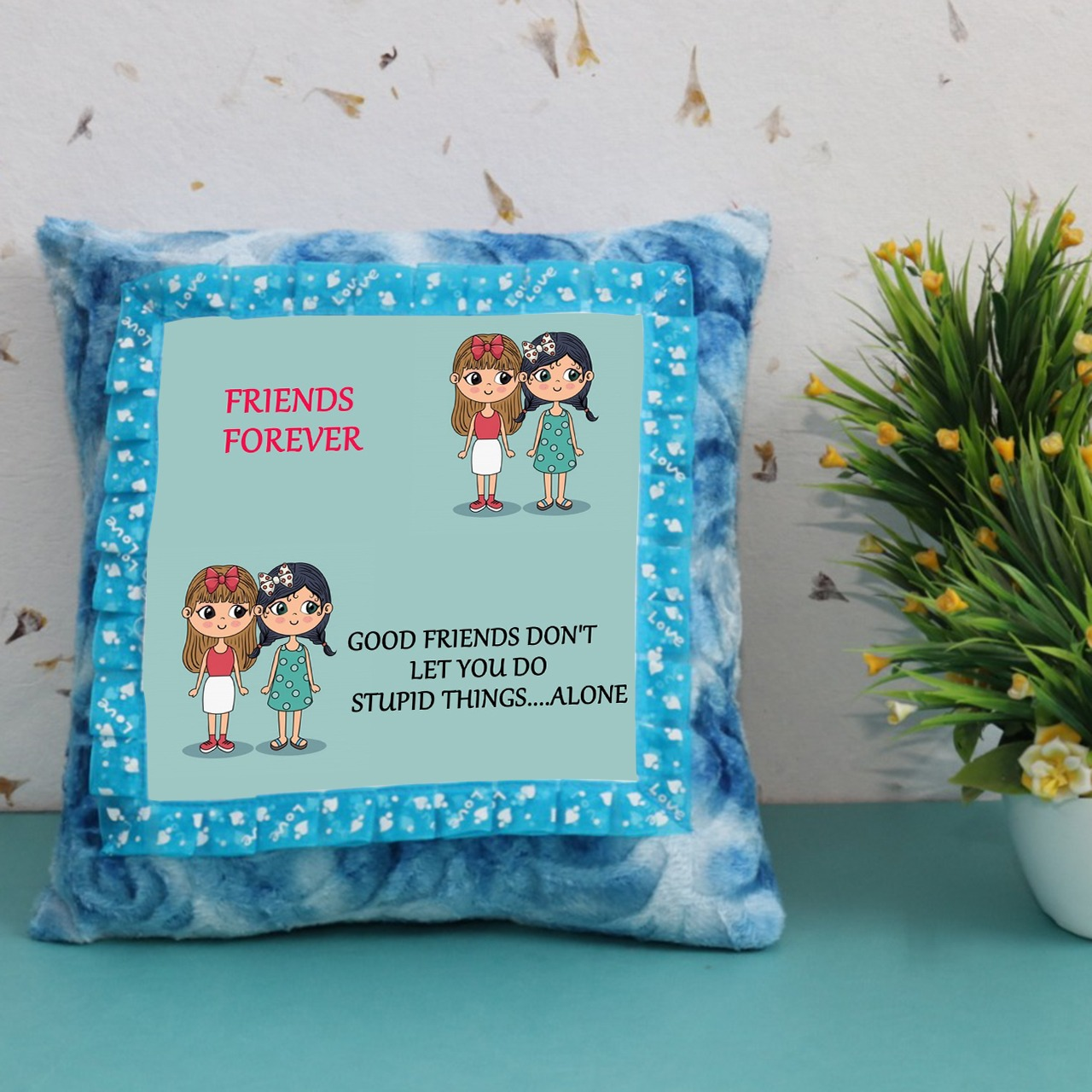 Friends Forever Blue Customize Cushion